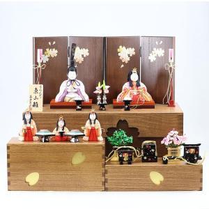 雛人形 コンパクト 木目込み 真多呂作 木目込み雛人形 東山雛 5人飾り 収納飾り|marutomi-a