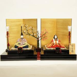 雛人形 コンパクト 木目込み 真多呂作 木目込み雛人形 伝統的工芸産業品 金彩 紫雲雛 親王飾り|marutomi-a