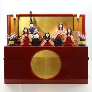 雛人形 コンパクト 木目込み 真多呂作 木目込み雛人形 寿宝雛 五人揃い 収納飾り|marutomi-a