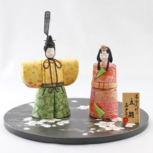 雛人形 コンパクト 木目込み 真多呂作 木目込み雛人形 春桜立雛 丸盆飾り台 流水に桜|marutomi-a
