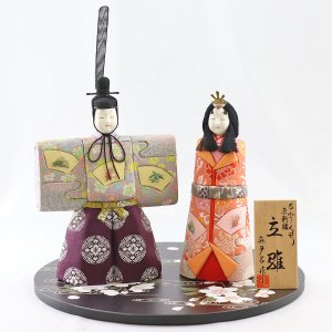 雛人形 コンパクト 木目込み 真多呂作 木目込み雛人形 洛陽立雛 丸盆飾り台 流水に桜|marutomi-a