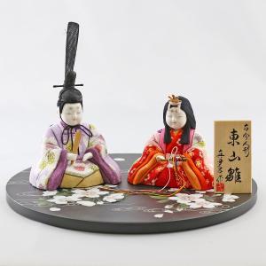 雛人形 コンパクト 木目込み 真多呂作 木目込み雛人形 東山雛 丸盆飾り台 流水に桜|marutomi-a