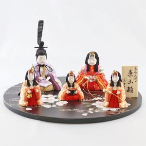 雛人形 コンパクト 木目込み 真多呂作 木目込み雛人形 東山雛 五人 丸盆飾り台 流水に桜|marutomi-a