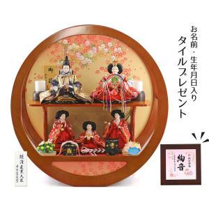 雛人形 コンパクト ケース入り 平安道翠 まどか 芥子親王 三人官女 五人飾り 円形 丸型 アクリルケース飾り|marutomi-a