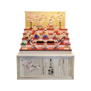 雛人形 コンパクト 木製 南雲工房 伊予一刀彫 さくら雛 十五人飾り(大)|marutomi-a