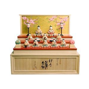 雛人形 コンパクト 木製 南雲工房 伊予一刀彫 桃香雛|marutomi-a