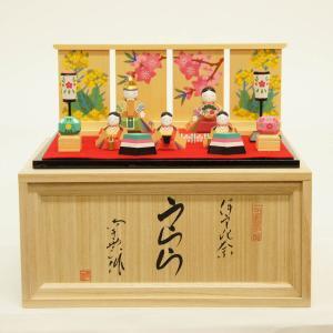 雛人形 コンパクト 木製 南雲工房 伊予一刀彫 伊予比奈 うらら 五人飾り|marutomi-a
