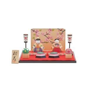 雛人形 コンパクト 木製 南雲工房 伊予一刀彫 桃花|marutomi-a
