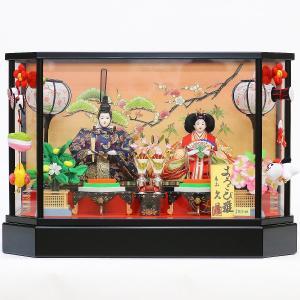 雛人形 コンパクト ケース入り 久月 ケース飾り 親王飾り 小三五親王 ガラスケース つるし飾り オルゴール付 marutomi-a