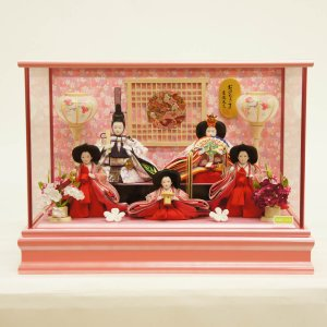 雛人形 コンパクト ケース入り 吉徳 吉徳大光 ケース入り 小芥子親王 柳官女 五人飾り おひなさま ガラスケース marutomi-a