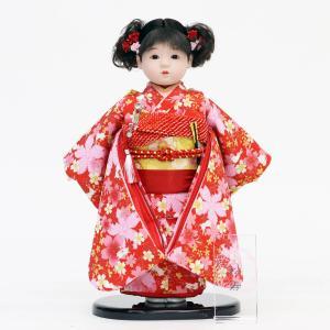 松寿作 市松人形 特選友禅 赤 桜にうさぎ|marutomi-a