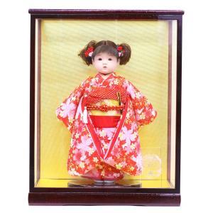 松寿作 市松人形 特選友禅 赤 桜にうさぎ ケース入り (HB45)|marutomi-a