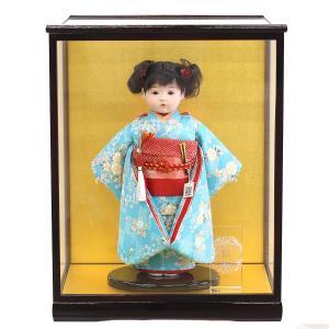 松寿作 市松人形 特選友禅 桜 水色 ケース入り (HB45)|marutomi-a