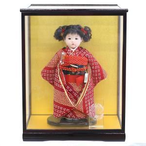 松寿作 市松人形 特選友禅 正絹 絞り ケース入り (HB45)|marutomi-a