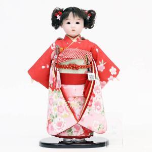 松寿作 市松人形 京友禅 赤 桜に桜|marutomi-a