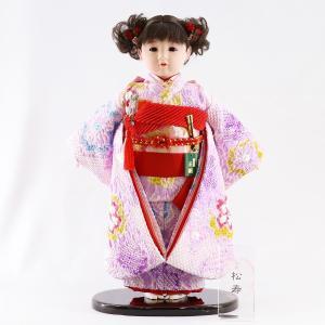 雛人形 ひな祭り 松寿作 市松人形 正絹変わり絞り 紫花 marutomi-a