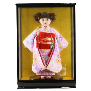 雛人形 ひな祭り 松寿作 市松人形 正絹変わり絞り 紫花 ケース入り (HB9) marutomi-a