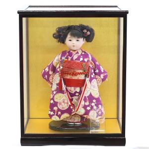 松寿作 市松人形 特選友禅 紫 蝶 ケース入り (HB45)|marutomi-a
