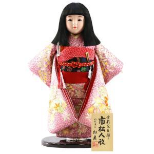 雛人形 ひな祭り 金松寿作 市松人形 彩京刺繍 扇面に枝垂桜 ラメ桜地 marutomi-a