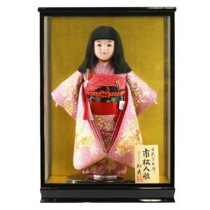 雛人形 ひな祭り 金松寿作 市松人形 彩京刺繍 扇面に枝垂桜 ラメ桜地 ケース入り (HB9) marutomi-a