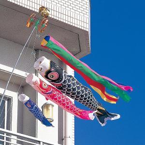 こいのぼり ベランダ用 タフタ鯉 1.5m 6点セット DN格子取り付け金具セット (吹流し 鯉3匹 格子取付用金具・ポール付き) ナイロン製 marutomi-a