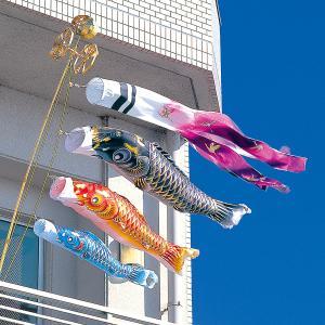 こいのぼり ベランダ用 空鯉 1.5m 6点セット NDWベランダスタンドセット (吹流し 鯉3匹 万能スタンド・ポール付き) ポリエステル製 撥水加工 家紋・名入れ対応|marutomi-a