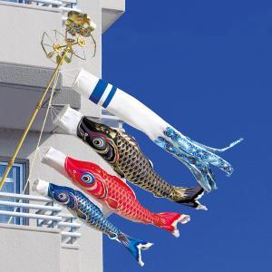 こいのぼり ベランダ用 天晴鯉 1.5m 6点セット NDWベランダスタンドセット (吹流し 鯉3匹 万能スタンド・ポール付き) ポリエステル製 撥水加工 家紋・名入れ対応|marutomi-a