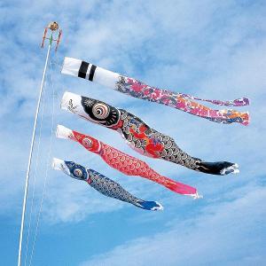 こいのぼり 庭用 スパークル金太郎鯉 5m 6点セット 大型/ポール別売り (吹流し 鯉3匹) ナイロン製 家紋・名入れ対応|marutomi-a