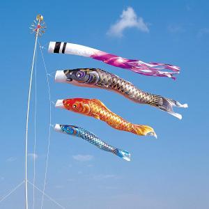 こいのぼり 庭用 空鯉 5m 6点セット 大型/ポール別売り (吹流し 鯉3匹) ポリエステル製 撥水加工 家紋・名入れ対応|marutomi-a