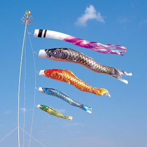 こいのぼり 庭用 空鯉 6m 7点セット 大型/ポール別売り (吹流し 鯉4匹) ポリエステル製 撥水加工 家紋・名入れ対応|marutomi-a
