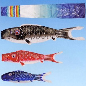 こいのぼり ベランダ用 オーロラ鯉 20号 2m マンションスタンド (吹流し 鯉3匹 水袋式万能スタンド・ポール付き) ポリエステル製 家紋・名入れ対応|marutomi-a