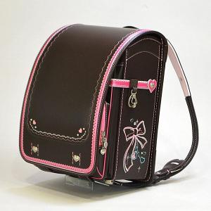 くるピタランドセル GIRLS(ガール) メルヘンフリル セピア ブラウン × ピンク A4クリアファイル・A4フラットファイル対応|marutomi-a