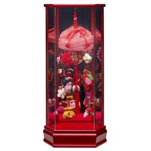 つるし飾り つるし雛 つるし飾り 六角彩色LG塗り 鏡バック アクリルケース入り (小) 赤|marutomi-a