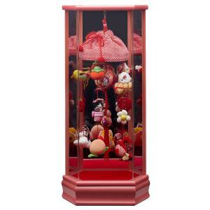 つるし飾り つるし雛 つるし飾り 六角彩色LG塗り 鏡バック アクリルケース入り (小) 桃|marutomi-a