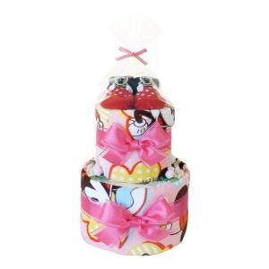 ディズニー ミニーマウス おむつケーキ ベビーソックス付き 2段  人気のミニーマウスのおむつケーキ...