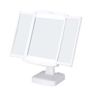 LED付女優卓上ミラー キレイミラー 鏡 三面鏡 光る 折りたたみ メイク|marutto-markets