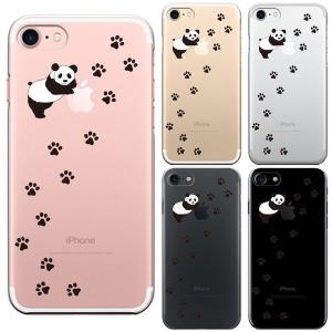 iPhone7 ハードスマホケース パンダ フットプリント  とても人気のクリア(透明)ケースです。...