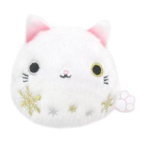 この季節だけの【雪ねこだんご】出会えたアナタは幸せになれるかも!金と銀のオッドアイと雪の結晶、ピンク...