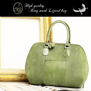 ANKH JET アンクジェト 独特のウロコ模様が美しい、高級リングマークトカゲのハンドバッグ