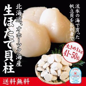生ほたて貝柱 1kg 大きめ41〜50粒 (北海道産/お刺身用)外箱サイズ表記3S|maruya