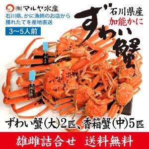カニ漁解禁!(石川県産)ズワイガニ/加能かに:大サイズ2匹、香箱蟹5匹の詰め合せ(3〜5人前)|maruya