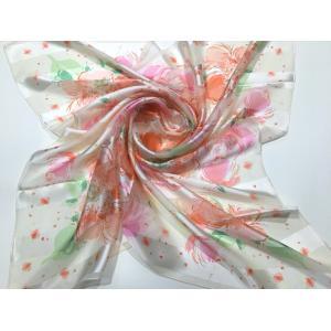 シルクスカーフ日本製 横浜シルクスカーフ スカーフ春2018 レディーススカーフ スカーフ大判 母の日  2色あり|maruyama-trade