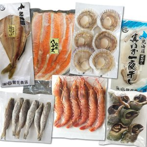 海鮮 BBQ セット 7種セット 北海道産ホタテ片貝 天然あかエビ ツブ 生干し氷下魚 しまほっけ イカの一夜干し 紅鮭ハラス|maruyuugyogyoubu