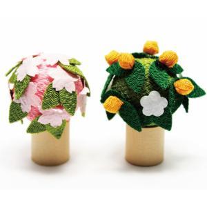 雛人形 コンパクト ちりめん 小さい 手作り/桜と橘/お雛様 ひな祭り ひな人形 人形 飾りミニ 可...