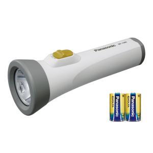 防災グッズ LED懐中電灯 パナソニック エボルタ付きLEDライト(単1電池2個用)  BF-158BK-W  BF-158BFの電池付セット|mary-b