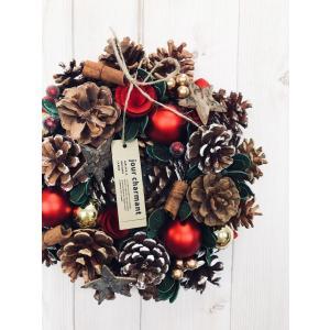 クリスマスリース おしゃれな 玄関用 リース 約25cm クリスマス リース ナチュラル 冬のリース  玄関ドア リース  CM910-B