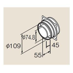 リンナイ φ110×φ75給排気部材 FF 2重管用【FFA-5B】後方延長アダプタ(21-1093)【FFA5B】 給湯器|mary-b