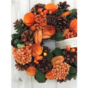 あすつく リース サイズM 直径23cm おしゃれな秋のナチュラル リース 玄関  玄関ドア リース HW416B 敬老の日のプレゼントにも人気です