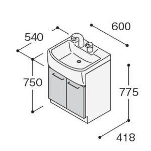 ノーリツ 洗面化粧台 600mm LSBB-60EWNK1B ベースキャビネット 両開き扉タイプ  シングル ホワイト  代引不可|mary-b