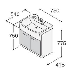 ノーリツ 洗面化粧台 750mm シングルレバー ベースキャビネット LSBB-70EWNK1B  水栓+ボウル+キャビネット 代引不可|mary-b